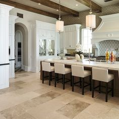 Libourne Medium Light kitchen floor in Crystal Cove mansion. Holly Davis, French Decor, Kitchen Flooring, Kitchen Lighting, Traditional, Mansions, Table, Lakes, Floors