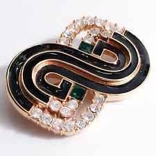 Vintage Art Deco Brooch Gold Black Enamel Emerald Clear Rhinestones