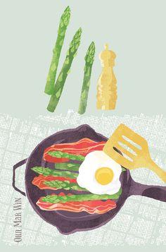 Asparagus with bacon & eggs BLOG — Ohn Mar Win Illustration