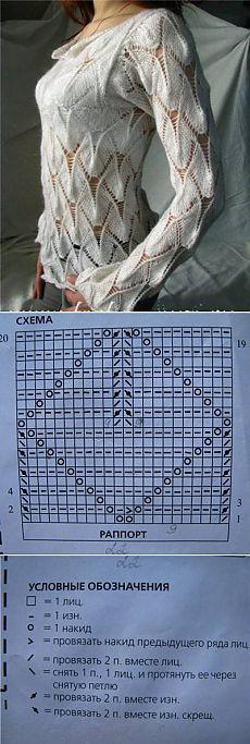 La labor de punto del pulóver interesante de la cinta hermosa del esquema - el Esquema de la labor de punto - el Gancho y los rayos // Майя Меджидова Knitting Stiches, Sweater Knitting Patterns, Lace Knitting, Crochet Shirt, Crochet Hooded Scarf, Crochet Lace, Lace Patterns, Crochet Patterns, Crochet Woman