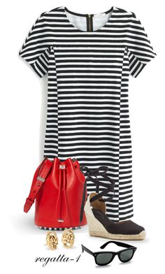 """Black and White Stripe"" by regatta-1 ❤ liked on Polyvore featuring J.Crew, Alexander Wang, Soludos, Ray-Ban and Blue Nile"