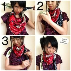 Knot Just A Scarf Tutorial Knotted Cowboy Fluide. Cowboy Knot, Scarf Tying Tutorial, Side Curls, Head Scarf Tying, Scarf Knots, Woven Scarves, Wide Headband, Scarf Shirt, Tumblr