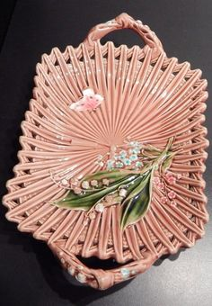 Pink Willeroy&Bosch Majolika Plate with Lily of the Walley