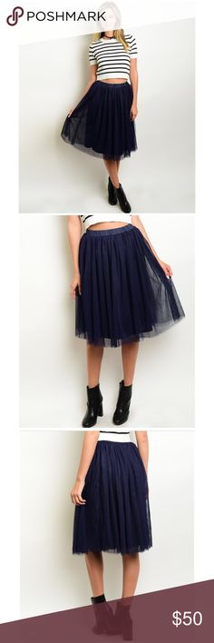 """Navy Blue Tulle Midi Skirt NWT navy blue tulle fully lined midi skirt is perfect for the season! The midi flowy skirt is fabricated of soft polyester & overlaid with multi-layers of sheer tulle forming a flowy & fairy visual impact! Features wide satin elastic waist & soft lining  *ALSO IN PINK & WHITE IN SEPARATE LISTING TO BUNDLE! *S (Waist 24"""") (Length 23"""" to lining/24"""" to tulle) *M (Waist 26"""") (Length 24"""" to lining/24"""" to tulle)  *L (Waist 28"""") (Length 25"""" to lining/26"""" to tulle) *Bundle…"""