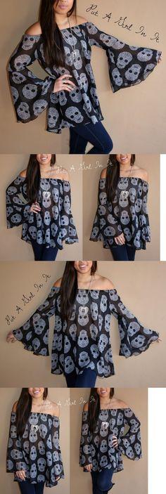 Women Fashion: Plus Size Black Chiffon Sugar Skull On Off Shoulder Peasant Top Shirt 1X 2X 3X -> BUY IT NOW ONLY: $30.95 on eBay!