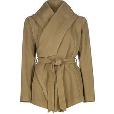 Wrap Belted Coat ❤ liked on Polyvore featuring outerwear, coats, belted coat, belt coat, wrap coat, coat with belt and shawl collar coat