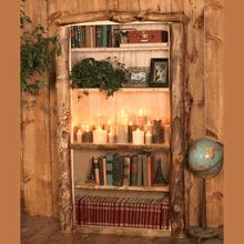 See our handmade solid Wasatch Aspen Log Bookcase here!