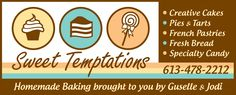 Sweet Temptations Bakery, Tweed, ON - serving up a wide menu ranging from fresh homemade bread to artistically created Wedding Cakes. Butter Tarts, Fresh Bread, French Pastries, Served Up, Baked Goods, Tweed, Foodies, Wedding Cakes, Bakery