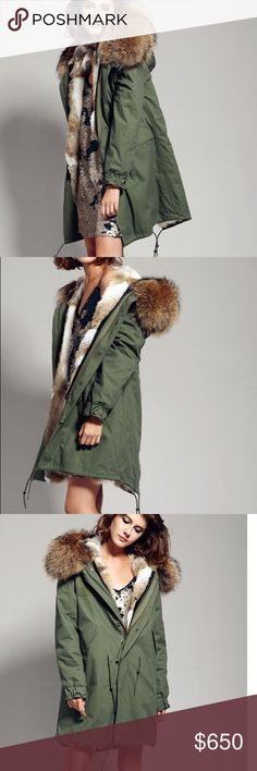 eae6fca33 Fur lined parka with huge fox hood women's army green raccoon fur lined hooded  parka -