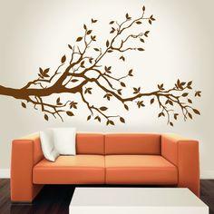 Árvore Floral Lateral 01 -vinil autocolante decorativo de parede
