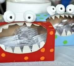 tissue box monsters for holding party cutlery