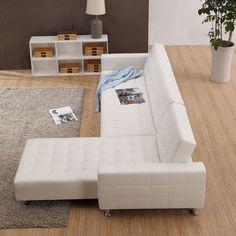 Canapé d'angle réversible et convertible en simili cuir COLEEN