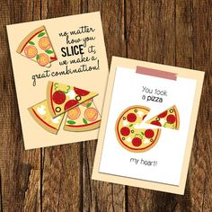 A few adorable pizza valentine printables that are perfect for pizza lovers!