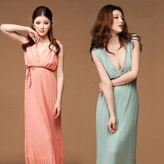 Discount China china wholesale Deep V-neck Wrinkle Sexy Chiffon Long Ladies Summer Evening Party Dress [30659] - US$19.99 : Bluelans