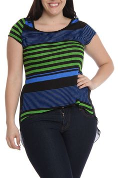 Trac Stripe Hi-Lo Top With Chiffon Back in Blue Green - Beyond the Rack