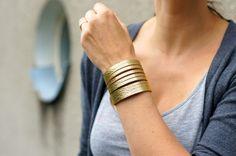 Gold Leather  Wrist Wrap Bracelet.