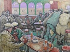 """First you take a drink, then the drink takes a drink, then the drink takes you."" (F. Scott Fitzgerald)  Art: The Newcastle Bar; Norman Cornish"