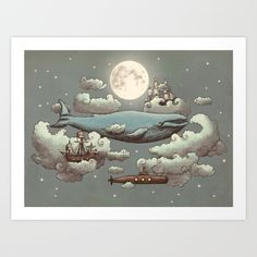 Behold, for when ocean meets sky, <br/> <br/> under the moon's watchful eye,<br/> <br/> tall ships, blue whales float by, <br/> <br/> and in clouds, submarines dive.