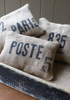 burlap pillow happiness