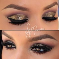 "Instagram photo by beautytested - Super Glamour com o ""Cut Crease"" de glitter dourado queimado na pálpebra móvel,esfumado vinho mate no cônc..."