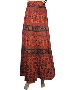 Skirts for Womens Bohemian Orange Black Camel Elephant Floral Print Cotton Wrap Around Skirt Mogul Interior, http://www.amazon.com/dp/B009S1CYZQ/ref=cm_sw_r_pi_dp_MGZFqb1NVXQD4