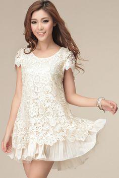Lace Overlay Short Sleeve Dress - OASAP.com