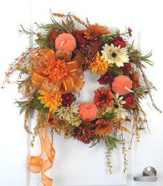 Fall Thanksgiving Harvest  Pumpkin Orange by HungUpOnWreaths