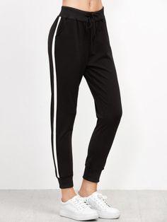 Pantalones con raya lateral - negro