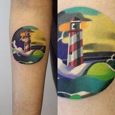 Lighthouse Tattoo http://www.noregretsstudios.co.uk/watercolour-like-tattoos-by-sasha-unisex/