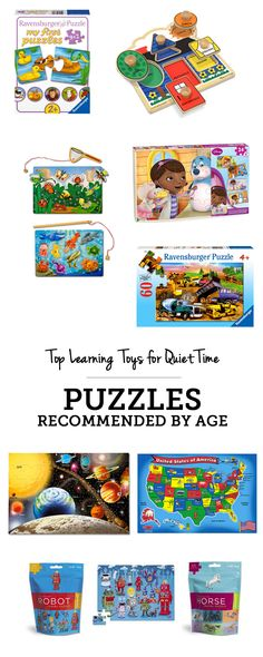 Top learning toys for quiet time: puzzles recommended by age - love this entire gift guide of different learning toys kids can play independently!