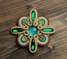 Soutache brooch, Green, beige, turquoise and gold brooch, Embroidered brooch, Beaded brooch, Soutache jewelry, Gift for her