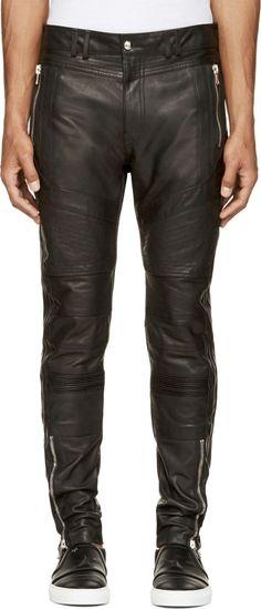 957ad8257e36 Diesel Black Gold Buffed Leather Lafight Biker Trousers Biker Leather