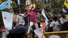 Students in New Delhi have protested over a crackdown on dissent/free speech at universities http://trib.al/iIJwYEi