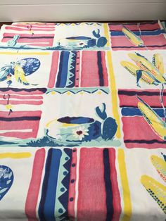 Vintage Southwest Mexican Cotton Tablecloth with Cactus, Pots and Sombreros by Weil & Durse-vintage tablecloth, Mexican theme, Southwest