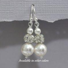 Swarovski Bridesmaid Earrings, Swarovski White Pearl Earrings, Bridesmaid Jewelry, Bridesmaid Gift, Bridesmaid Earrings, Bridesmaid Jewelry