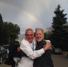 Werner Herzog and Errol Morris Hugging Under a Rainbow