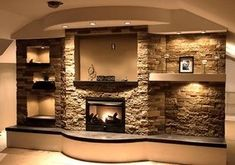 AirStone-supposedly cheaper than real stone or even faux stone, for fireplace surround. Plafond Design, My Dream Home, Home Projects, Home And Living, Home Remodeling, Kitchen Remodeling, Family Room, House Plans, Sweet Home