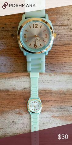 Anthropologie Viscid Womens Watch Green Mint Fun soft green jelly band face trimmed with gold Anthropologie Accessories Watches