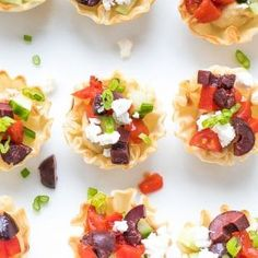 Mediterranean Phyllo Cups bite sized appetizer, easy to make with just a few store bought ingredients. Oven Baked Fries, Fries In The Oven, Phyllo Cups, Bite Size Appetizers, Bake Zucchini, Fries Recipe, Cooking For A Crowd, Roasted Potatoes, Fritters