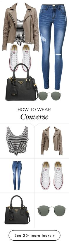 Untitled #1155 by directionermixer01 on Polyvore featuring WithChic, Converse, Prada and Ray-Ban