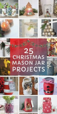 So many WONDERFUL Christmas Mason Jar Crafts - from luminaries to snow globes. Get your craft on and decorate your home for the Holidays! #diymasonjar #diy