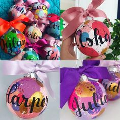 Painty hand painted Christmas bauble with name - choose your colours Personalised Bauble, Personalised Christmas Baubles, Christmas 2019, Christmas Bulbs, Christmas Gifts, Colorful Christmas Tree, Color Mixing, Hand Painted, Colours
