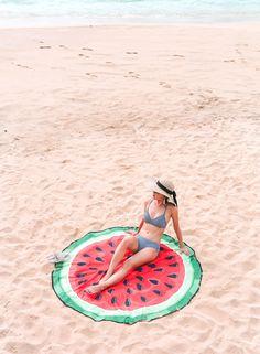 navy gingham bikini swimsuit + watermelon beach blanket towel ︎︎︎︎︎︎ ❤︎︎︎︎︎︎︎︎︎ ❤︎︎︎