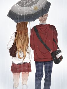 Cute couple under the rain
