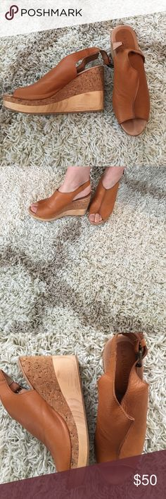 Platform leather sandals Cognac colored soft leather platform mule with wood and cork heel. All leather, no cheap elastic at the buckle! Hardly worn! Made in Spain. Shoes Mules & Clogs
