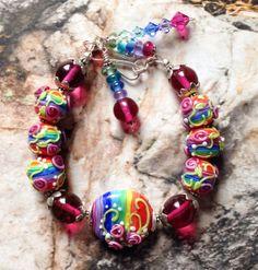 SALE Handmade Lampwork Rainbow with Rosebuds Lampwork Jewelry Bracelet SRA beads on Etsy, $141.60 CAD