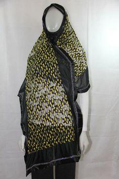 long hijab - black and yellow