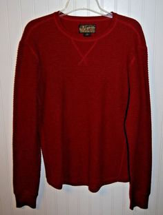 Lucky Brand Men's Large Wool Cotton Crewneck Sweater Long Sleeve Red #LuckyBrand #Crewneck