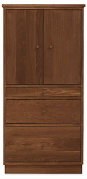 Linear Two-Door Office Armoire with Wood Base - Desks - Office - Room & Board