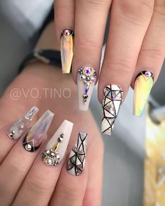 "Tino😘Turn On Post Notification on Instagram: ""Shine bright Like a Diamond 💎 🥰💎 . All acrylic, sculpting gel & black and white gel paint from @missu_beauty_nails (Use code TINO10 for 10%…"""